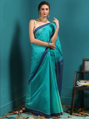 LIGHT BLUE BLENDED COTTON SAREE WITH SEQUINS
