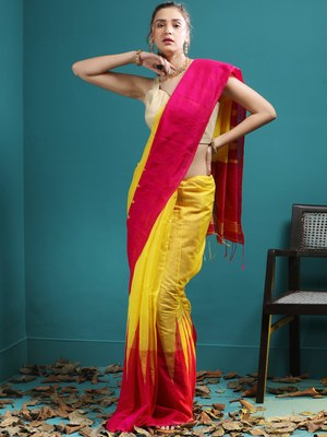 YELLOW BLENDED COTTON SAREE WITH MAGENTA BROAD TEMPLE BORDER