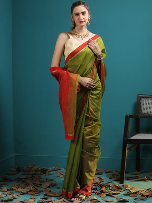 OLIVE GREEN BLENDED COTTON SAREE WITH SEQUINS