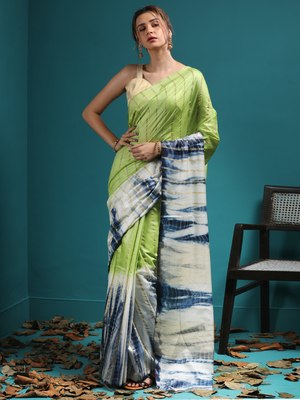 GREEN & WHITE BLENDED KOTA SAREE WITH NAVY BLUE HIGHLIGHTS & STRIPES