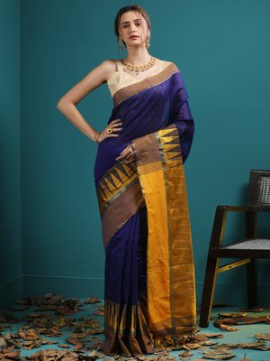 BLUE BLENDED COTTON SAREE WITH BROAD YELLOW TEMPLE BORDER