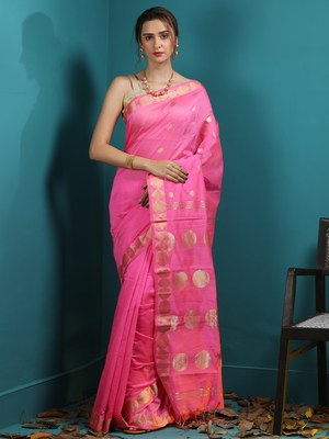 PINK BLENDED COTTON SAREE WITH WOVEN BUTTAS