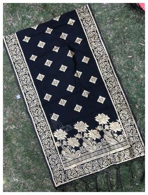 Black Woven Banarasi Dupatta