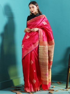 FUCHSIA DUPION SILK SAREE WITH FLORAL DESIGNS