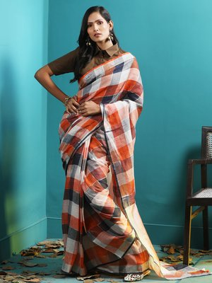 CHECKERED LINEN SAREE WITH RED & ORANGE HUES
