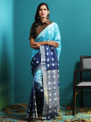 TONAL BLUES HALF & HALF LINEN SAREE WITH BANDHNI DESIGNS