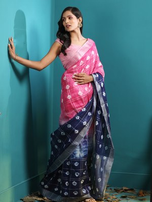 BLUE & PINK LINEN SAREE WITH BANDHANI DESIGNS