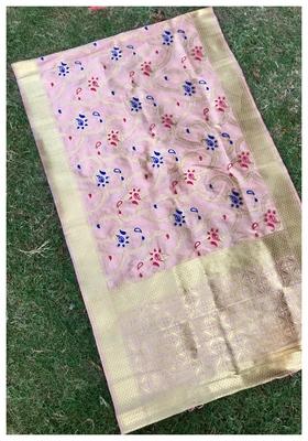 Peach Jacqured Banarasi silk Stole