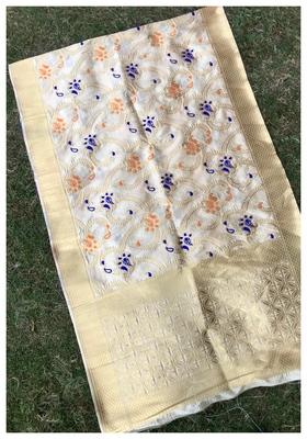 Chiku Jacqured Banarasi silk Stole