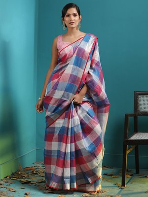 multicolor LINEN SAREE WITH CHECKERED DESIGNS