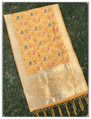 Yellow Jacqured Banarasi silk Stole