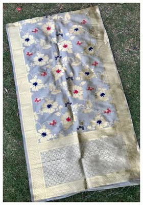 Grey Banarasi silk dupatta