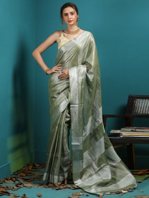 OLIVE TISSUE LINEN SAREE WITH ZARI