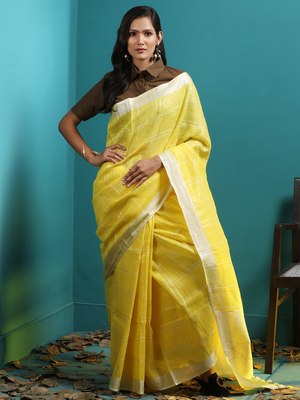 YELLOW LINEN CHECKERED SAREE WITH ZARI