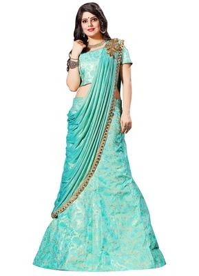 Sky-blue woven silk semi stitched lehenga
