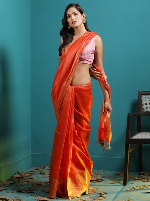 ORANGE TUSSER MUNGA SAREE WITH ZARI BORDER