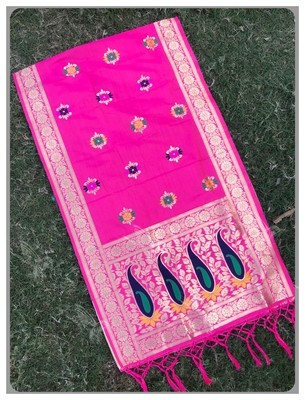 Pink Banarasi silk dupatta