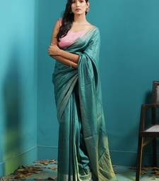 BLUE TUSSER MUNGA SAREE WITH ZARI BORDER