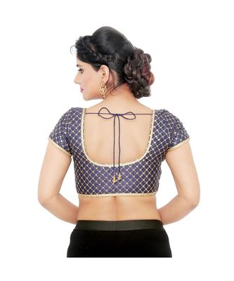 Navy-blue Dupion Silk  Padded designer ready made saree blouse