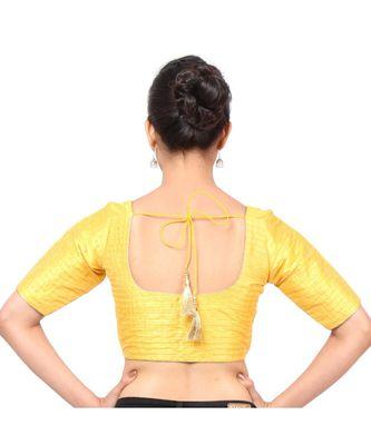 Yellow Tafeta  Padded Designer Ready Made Saree Blouse