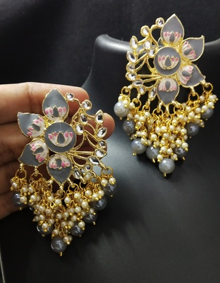 Grey Pink Meenakari Pearl Kundan Dangle Earrings