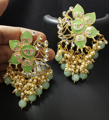 Green Pink Meenakari Pearl Kundan Dangle Earrings