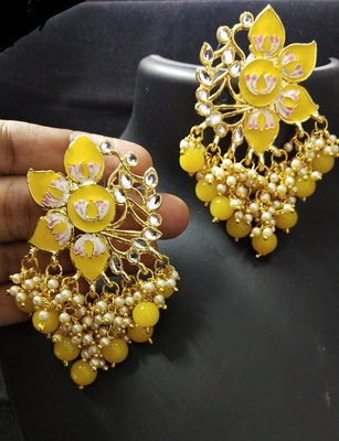 Yellow Pink Meenakari Pearl Kundan Dangle Earrings