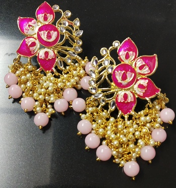 Magenta Pink Meenakari Pearl Kundan Dangle Earrings