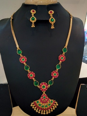 Georgeous  gold plated multi colour kundans necklace set