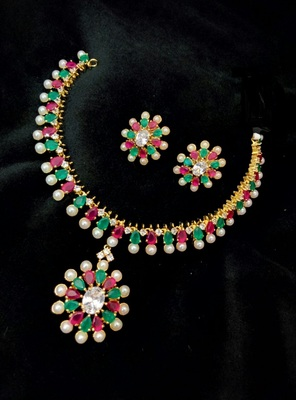 Georgeous Gold Plated Ruby, Kempu And Pearl Necklace Set