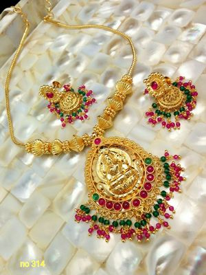 High gold plated Laxmi necklace set