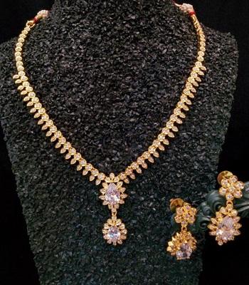 Cz,  White Colour Necklace Set