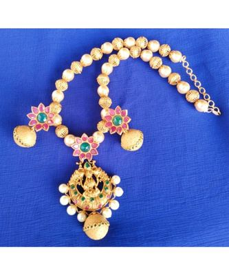 Georgeous  Gold Plated Pearls Laxmi Necklace Set
