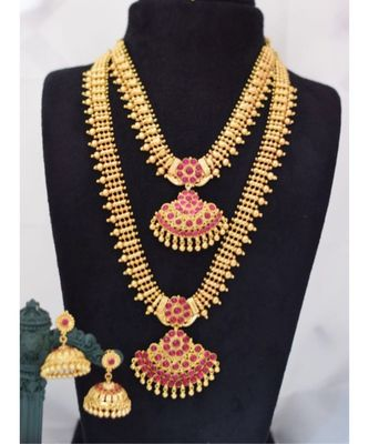 Georgeous gold plated pink colour kundas long and short necklace sets for wedding jewellary