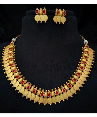 Georgeous gold plated laxmikasu necklace set