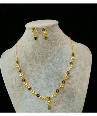 Black Agate Leaf Shape Necklace Set