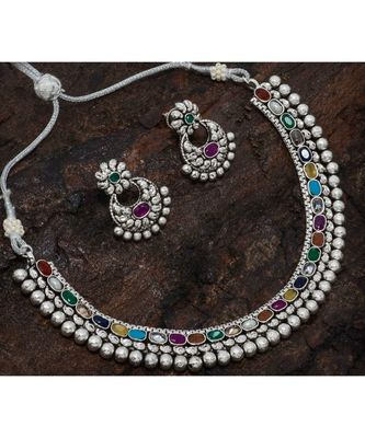 Silver Necklace Set With Kundans
