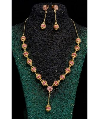 Cubic Zirconia Stones Pink Necklace Set
