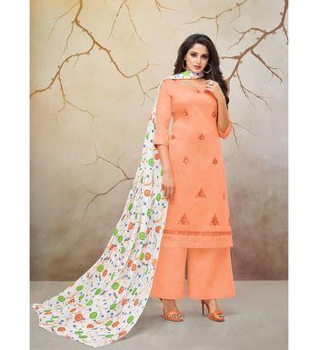 Orange & White Jam Cotton Women's Dress Material With Printed Cotton Dupatta