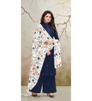 Navy Blue & White Jam Cotton Women's Dress Material With Printed Cotton Dupatta