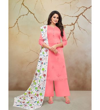 Pink & White Jam Cotton Women's Dress Material With Printed Cotton Dupatta