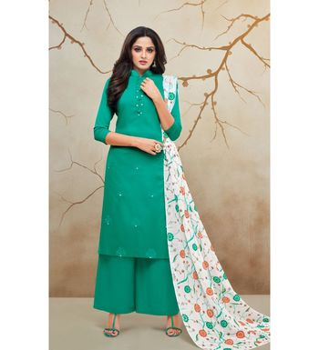 Teal & White Jam Cotton Women's Dress Material With Printed Cotton Dupatta
