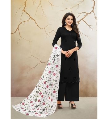 Black & White Jam Cotton Women's Dress Material With Printed Cotton Dupatta
