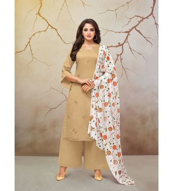 Beige & White Jam Cotton Women's Dress Material With Printed Cotton Dupatta