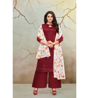 Maroon & White Jam Cotton Women's Dress Material With Printed Cotton Dupatta