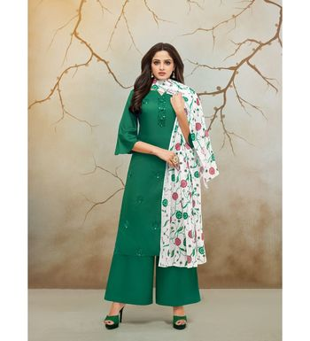 Green & White Jam Cotton Women's Dress Material With Printed Cotton Dupatta
