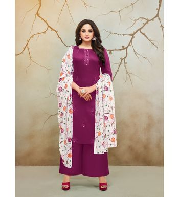 Magenta & White Jam Cotton Women's Dress Material With Printed Cotton Dupatta