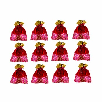 Silk and Velvet Fabric Ethnic Potli Pouch with Criss-Cross Gota Strips (Multicolour)-Set of 12