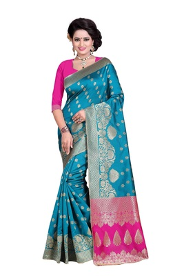 Turquoise woven banarasi silk saree with blouse