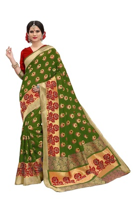 Olive woven banarasi silk saree with blouse